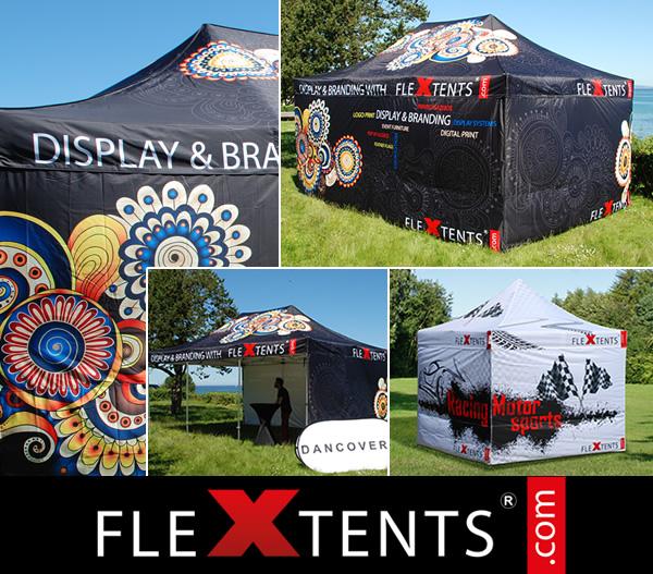 Vollflächiger Digitaldruck auf FlexTents® - den führenden Faltzelten auf dem Markt